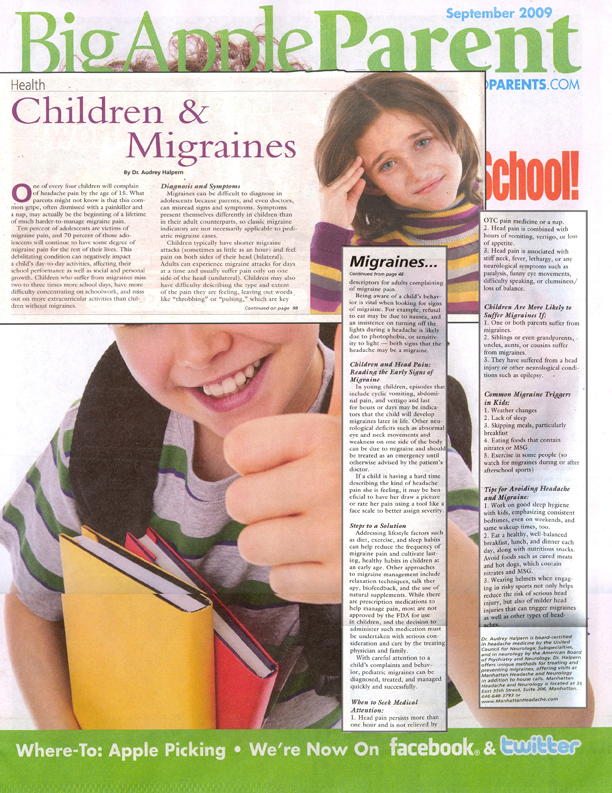 article about migraines in Big Apple Parent