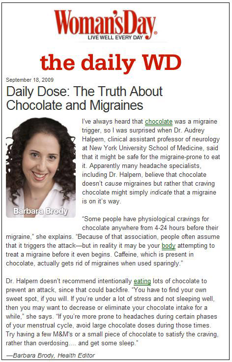 article on migraines in Woman's Day Magazine